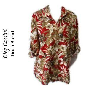 4/$20 Oleg Cassini Red Floral Linen Blend Shirt
